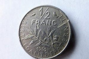1/2 Franc Franciaország fémpénz 1965