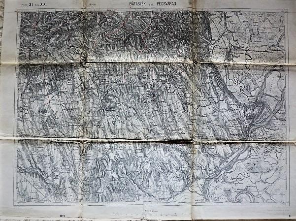 Bátaszék Pécsvárad katonai térkép 1914