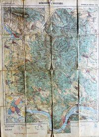 Börzsöny Hegység régi térkép 1927 kasírozott