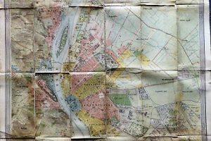 Budapest térkép 1896 Homolka kasírozva