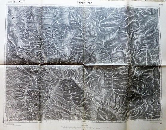Gyimes Hágó Hidegség Erdély régi térkép 1915