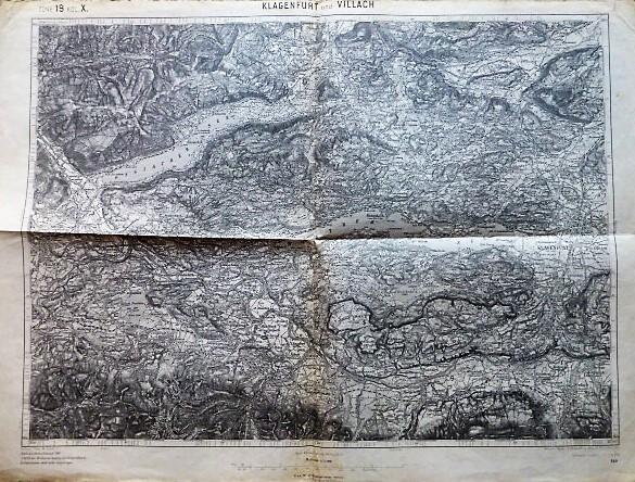 Klagenfurt és Villach környéke  Ausztria régi térkép 1914