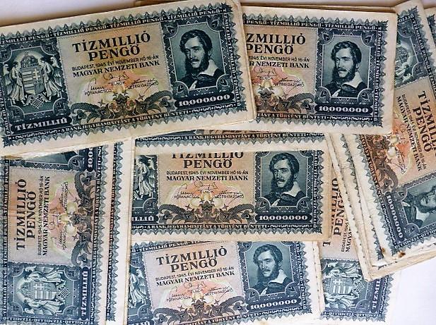Tízmillió pengő papírpénz 1945