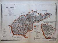 Zala Megye közigazgatási Térkép 1880 régi kasírozott
