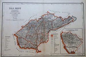 Zala Megye közigazgatási Térkép régi kasírozott