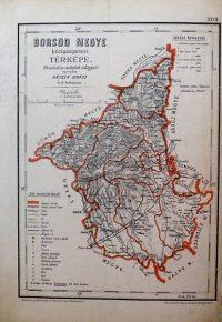 Borsod Megye közigazgatási Térkép 1880 régi