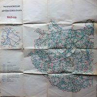 Magyarország Autóbuszhálózata 1965-66 térkép kétoldalas
