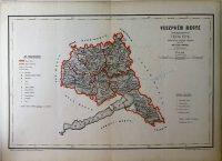 Veszprém Megye közigazgatási régi Térkép kasírozott