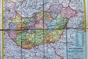 Magyarország térkép vászonra kasírozva 1950-es évek
