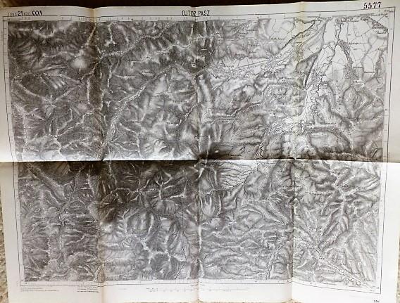 Ojtozi Szoros Erdély 1916 régi térkép