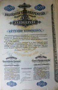 Belvárosi Takarékpénztár Takaréklevél 1918