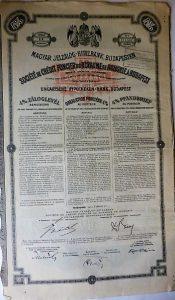 Magyar Jelzálog és Hitelbank záloglevél 1911
