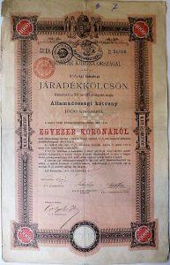 Magyar Korona Országai Járadékkölcsön 1000 korona 1897