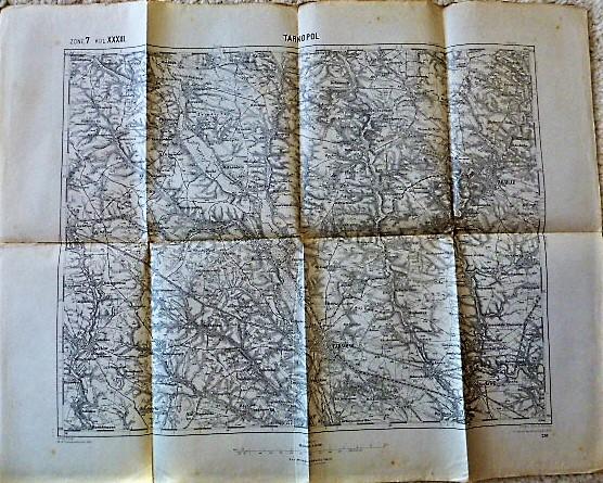 Zone 7 KOL. XXXIII. Ternopil Tarnopol Zbaraz Ukraine military map Landkarte 1914, torn, zerissen, Size 62 x 48 cm. K.u.K.Militargeographisches Institut.