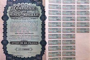 Belga Bányarészvény Brüsszel 1930 100 frank
