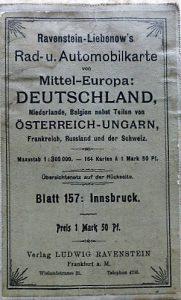 Innsbruck környéke régi autó térkép 1920