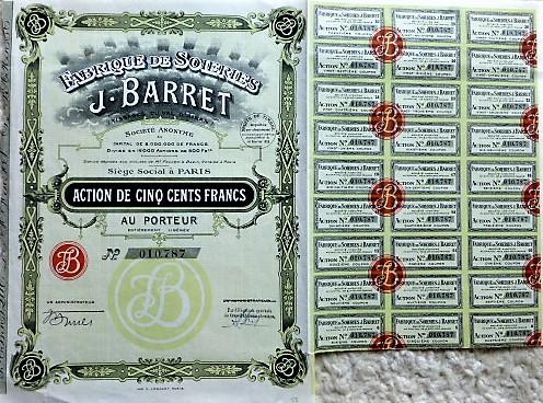J. Barret francia részvény Párizs 1929