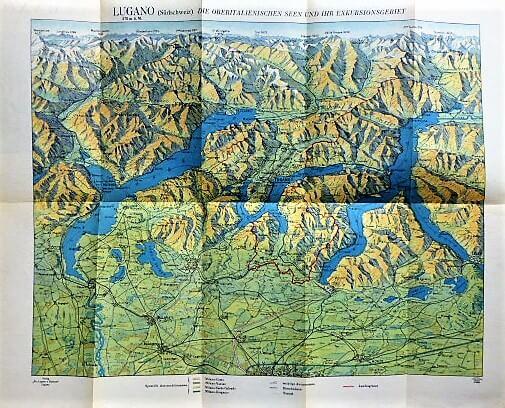 Lugano Svájc régi panoráma térkép 1930-as évek
