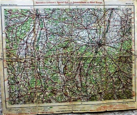 München környéke autó térkép 1920-as évek