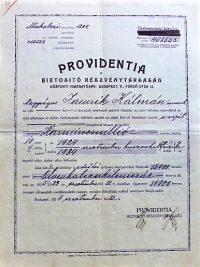 Providentia Biztosító biztosítási kötvény 1924