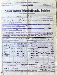 Szlovák Biztosító RT Bratislava kötvény 1926