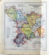 Jász Nagykun Szolnok Vármegye térkép 1927