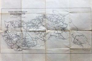 Magyarország Vasúti Autóbusz térkép 1940