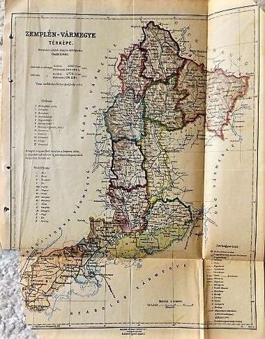 Zemplén Vármegye térkép 1926