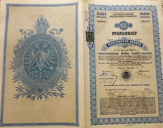 10.000 korona osztrák kötvény Bécs 1906