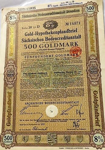 Arany német jelzálogkötvény 500 aranymárka 1929