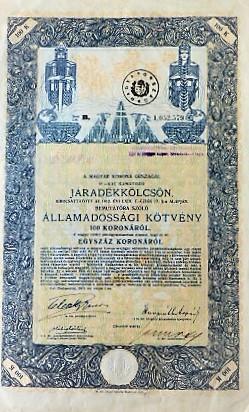 Járadékkölcsön 100 korona 1915