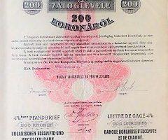 Magyar Leszámitóló Pénzváltóbank záloglevél 1903
