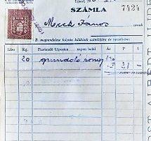 Régi számla 2 fillér bélyeggel 1934