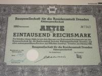 Német részvény: Aktie Dresden 1.000 márka