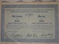 Bistritzer Bank részvény 200 lei