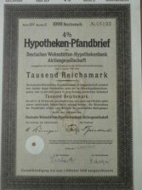 Hypotheken Pfandbrief 1000 Reichsmark