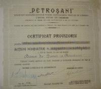 Petrosani Actiuni 500 Lei 1931 részvény